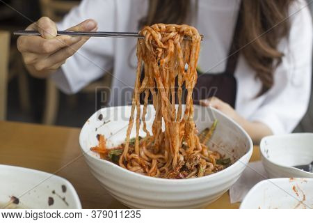 Korean Bibim Noodles With Sauce On Well-boiled Noodles.