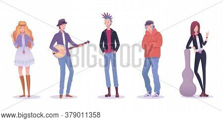 Man Woman Of Various Musical Subculture Set. Young People Character Bundle Isolated On White Backgro