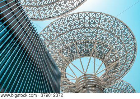 Dubai, Uae, 04/07/20. Modern Metal Light Structures In Flower/tree Shape With Blue Sky Background, B