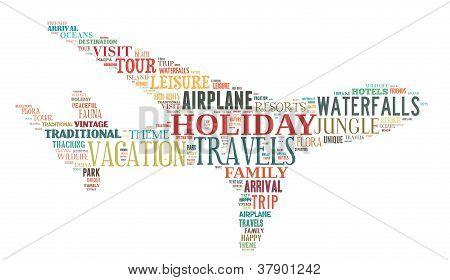 Holiday Related Keyword In Aeroplane Shape Info-text Graphic