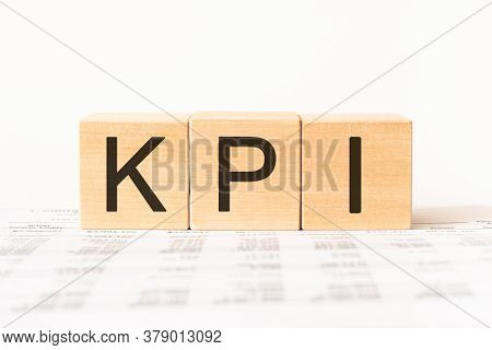 Word Kpi, Key Performance Indicator, Made With Wood Building Blocks, Stock Image