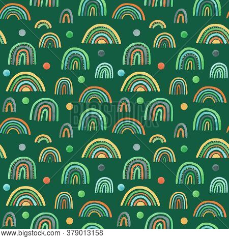 Watercolor Nursery Raindow Seamless Pattern. Scandinavian Style Hand Painted Rainbows Background. Ba