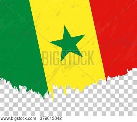 Grunge-style Flag Of Senegal On A Transparent Background. Vector Textured Flag Of Senegal For Vertic