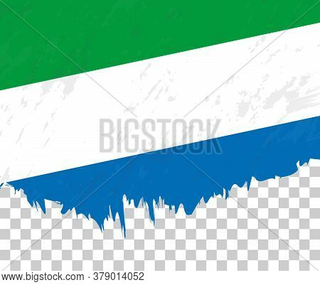 Grunge-style Flag Of Sierra Leone On A Transparent Background. Vector Textured Flag Of Sierra Leone