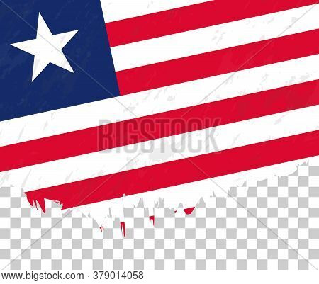 Grunge-style Flag Of Liberia On A Transparent Background. Vector Textured Flag Of Liberia For Vertic