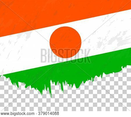 Grunge-style Flag Of Niger On A Transparent Background. Vector Textured Flag Of Niger For Vertical D