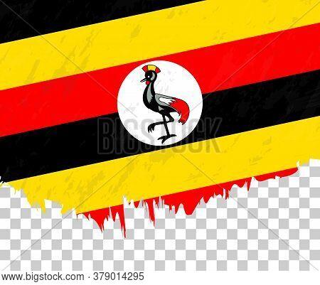 Grunge-style Flag Of Uganda On A Transparent Background. Vector Textured Flag Of Uganda For Vertical