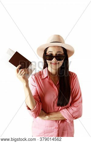 Asian Women Long Hair Wear Straw Hat In Hand Holding Passport Book . Female Ready To Travel With Pas