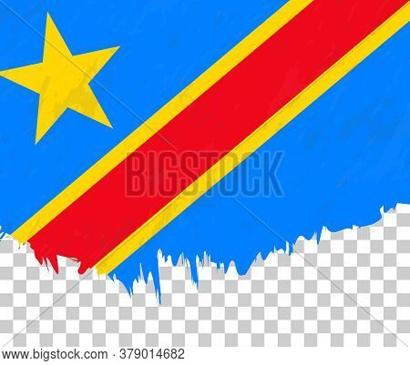 Grunge-style Flag Of Dr Congo On A Transparent Background. Vector Textured Flag Of Dr Congo For Vert