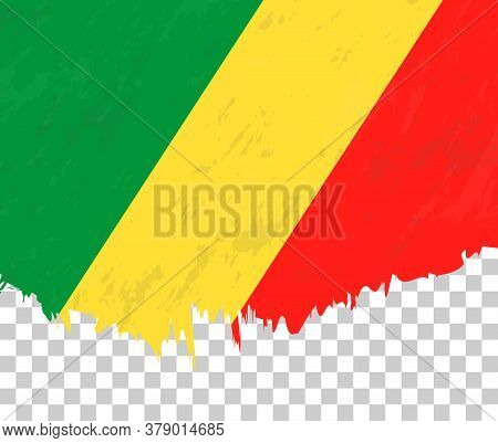 Grunge-style Flag Of Congo On A Transparent Background. Vector Textured Flag Of Congo For Vertical D