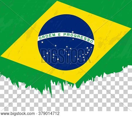 Grunge-style Flag Of Brazil On A Transparent Background. Vector Textured Flag Of Brazil For Vertical