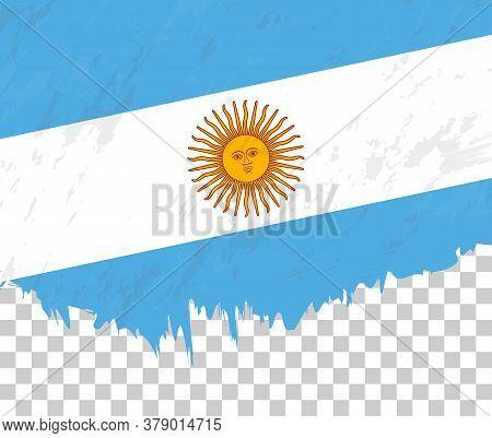 Grunge-style Flag Of Argentina On A Transparent Background. Vector Textured Flag Of Argentina For Ve