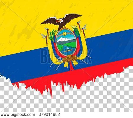 Grunge-style Flag Of Ecuador On A Transparent Background. Vector Textured Flag Of Ecuador For Vertic