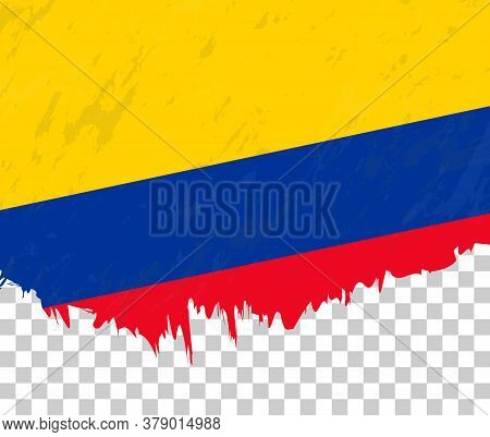 Grunge-style Flag Of Colombia On A Transparent Background. Vector Textured Flag Of Colombia For Vert