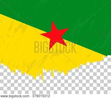 Grunge-style Flag Of French Guiana On A Transparent Background. Vector Textured Flag Of French Guian