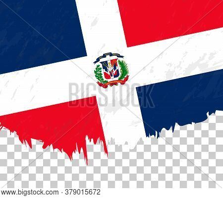 Grunge-style Flag Of Dominican Republic On A Transparent Background. Vector Textured Flag Of Dominic