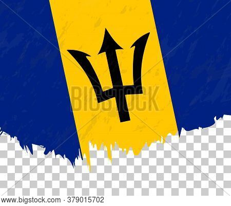 Grunge-style Flag Of Barbados On A Transparent Background. Vector Textured Flag Of Barbados For Vert