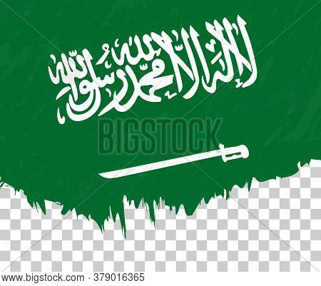 Grunge-style Flag Of Saudi Arabia On A Transparent Background. Vector Textured Flag Of Saudi Arabia