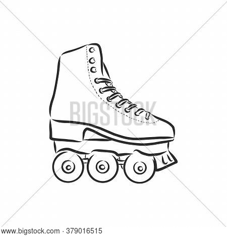 Roller Skates Icon. Vector Illustration Of Childrens Roller Skates. Hand Drawn Roller Skates.