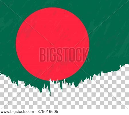 Grunge-style Flag Of Bangladesh On A Transparent Background. Vector Textured Flag Of Bangladesh For