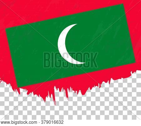 Grunge-style Flag Of Maldives On A Transparent Background. Vector Textured Flag Of Maldives For Vert