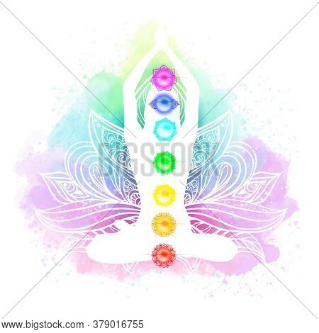 Meditation, Aura And Chakras Watercolor Vector Illustration