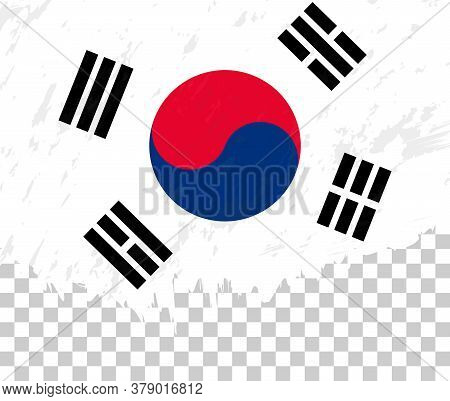Grunge-style Flag Of South Korea On A Transparent Background. Vector Textured Flag Of South Korea Fo