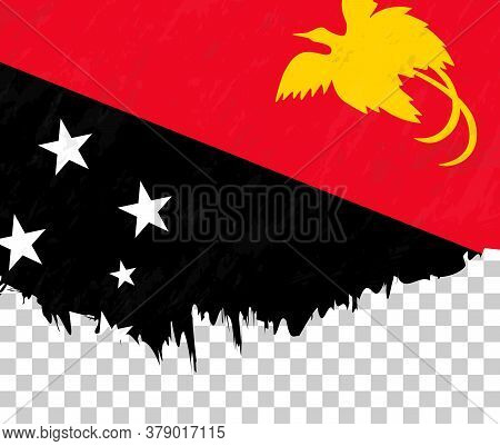 Grunge-style Flag Of Papua New Guinea On A Transparent Background. Vector Textured Flag Of Papua New