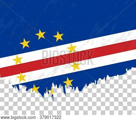 Grunge-style Flag Of Cape Verde On A Transparent Background. Vector Textured Flag Of Cape Verde For