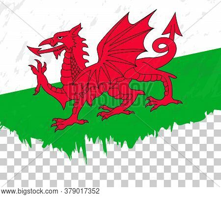 Grunge-style Flag Of Wales On A Transparent Background. Vector Textured Flag Of Wales For Vertical D