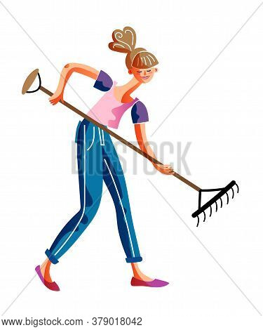 Happy Smiling Woman With Hand Work Tool Rake Isolated On White Background. Girl Gardener Raking Grou