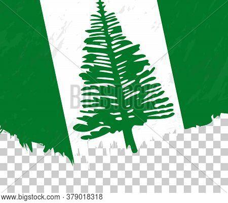 Grunge-style Flag Of Norfolk Island On A Transparent Background. Vector Textured Flag Of Norfolk Isl