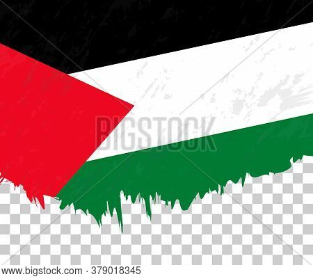 Grunge-style Flag Of Palestine On A Transparent Background. Vector Textured Flag Of Palestine For Ve