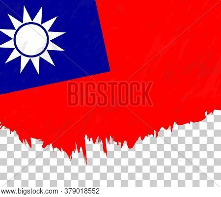 Grunge-style Flag Of Taiwan On A Transparent Background. Vector Textured Flag Of Taiwan For Vertical