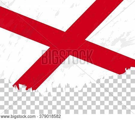 Grunge-style Flag Of Alabama On A Transparent Background. Vector Textured Flag Of Alabama For Vertic