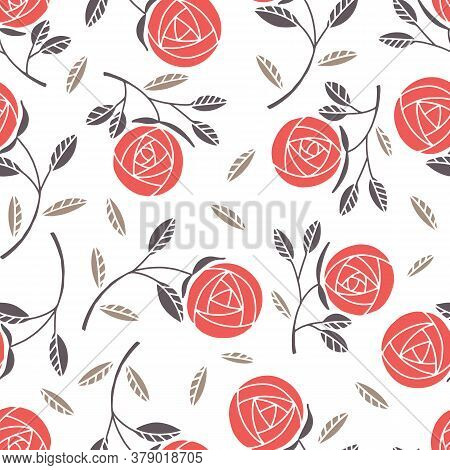 Seamless Pattern With Simple Rose On White Backgroung