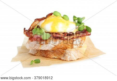 Tasty Egg Benedict With Sprouts Isolated On White