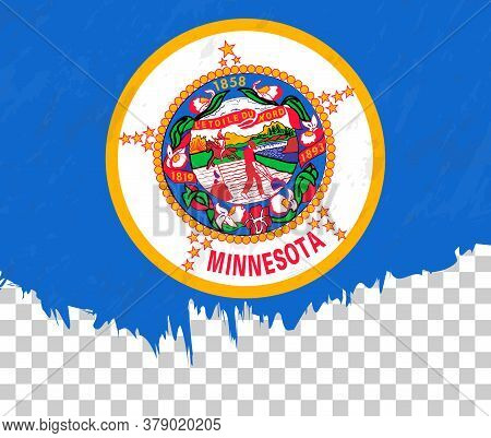 Grunge-style Flag Of Minnesota On A Transparent Background. Vector Textured Flag Of Minnesota For Ve