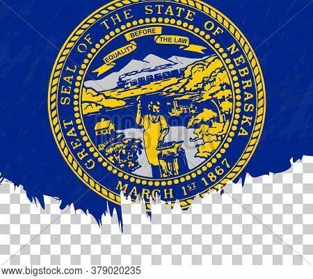 Grunge-style Flag Of Nebraska On A Transparent Background. Vector Textured Flag Of Nebraska For Vert
