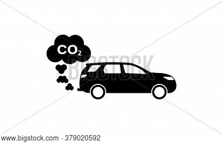 Car Exhaust Fumes With Co2 Icon. Vector On Isolated White Background. Eps 10