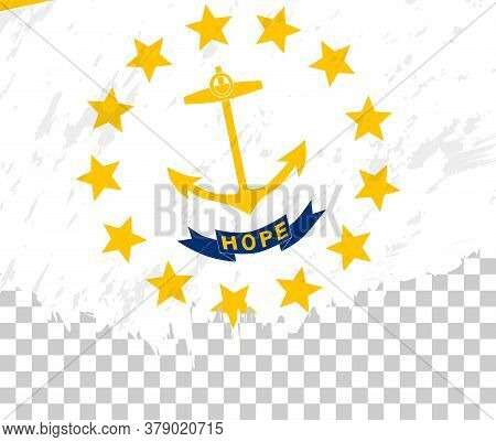 Grunge-style Flag Of Rhode Island On A Transparent Background. Vector Textured Flag Of Rhode Island
