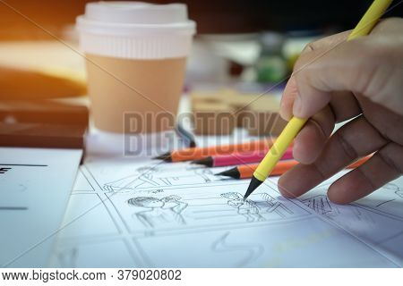 Work Stay At Home, Director Handwriting Film Storyboard Or Shooting Board, Screenplay, Dialog Pictur