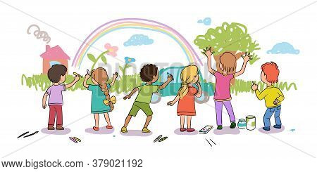 Cute Little Kids Drawing Nature On Wall With Colorful Chalk. Boys And Girls Painting White Backgroun