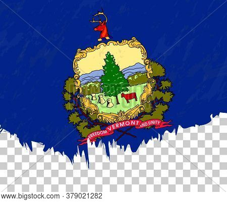 Grunge-style Flag Of Vermont On A Transparent Background. Vector Textured Flag Of Vermont For Vertic