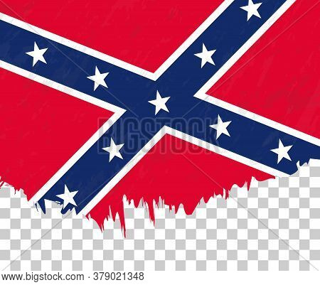 Grunge-style Flag Of Confederate On A Transparent Background. Vector Textured Flag Of Confederate Fo