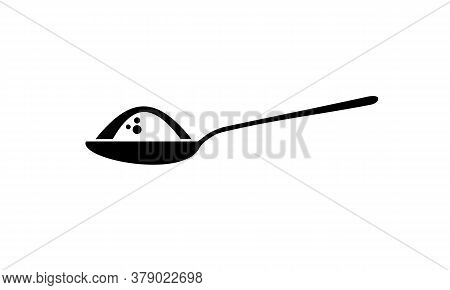 Spoon With Ingredient Icon. Teaspoon With Sugar, Salt, Flour. Cooking Proces Concept. Vector On Isol