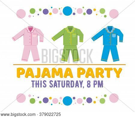 Pajama Party Vector Illustration Isolated On White.