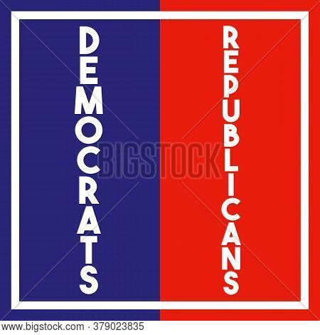 A Square Vertical Split Red, White And Blue Democrat And Republican Typographical Graphic Illustrati
