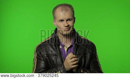 Cheerful Thoughtful Rocker Man In Brown Leather Jacket Dreaming With Inspired Happy Expression, Fant
