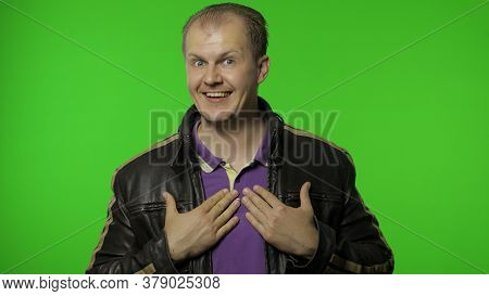 Choose Is Me. Successful Self-confident Rocker Man In Leather Jacket Pointing Himself And Looking At